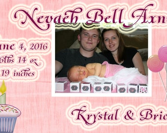 YOU PRINT!!!  Cupcakes and lolipops Baby Birth anouncement   Customized for you !!