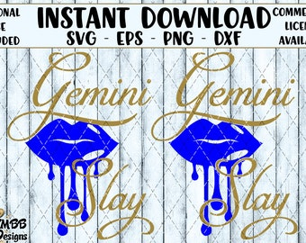 Instant Download - Personal Use - Gemini Zodiac Horoscope Slay Dripping Lips SVG PNG DXF - cutting File svg file Shirt Cup Designs Wall Art
