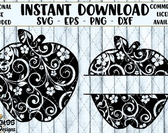 Instant Download - Personal Use - Apple Flourish and Split Flourish - SVG PNG DXF - Cut cutting File svg file Shirt Cup Mug Designs Wall Art