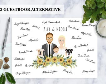 Guestbook alternative, Custom Illustration, Cartoon couple portrait, Digital illustration, Guestbook, Illustrated family, pets, unique