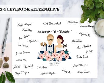 Guest book alternative, Custom Illustration, Cartoon couple portrait, Digital illustration, Guestbook, Illustrated family, pets, unique