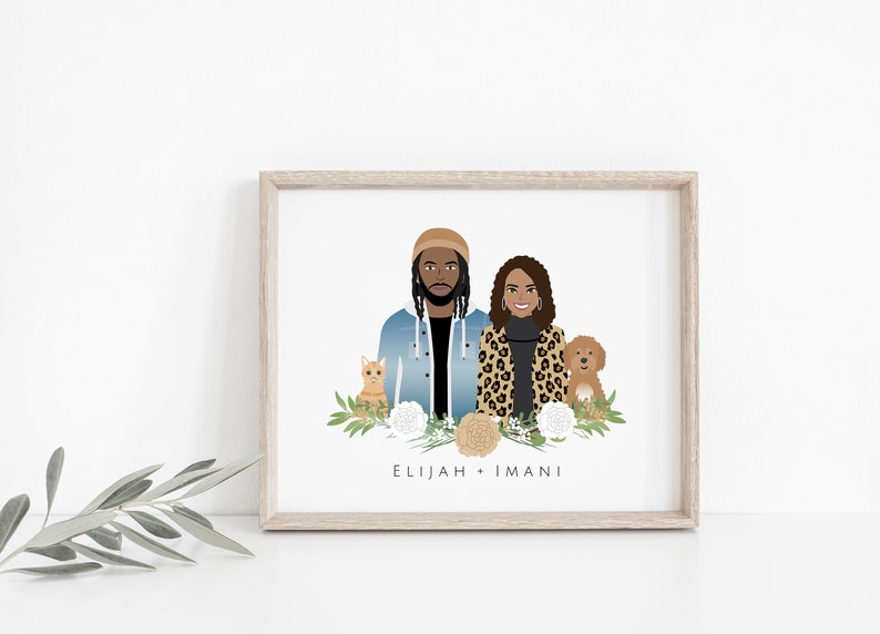 The cartoon couple portrait is suitable for couples who are really into cute things. This wall art is a unique and sentimental present especially for those in a long-distance relationship because it's made in a digital file only.