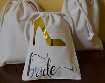 Personalized Bride gift bag, Bride Shoe favor bag, gift bag, favor bag, Diva Bride, Shoe Lover, High Heel lover, Bachelorette Favor bag