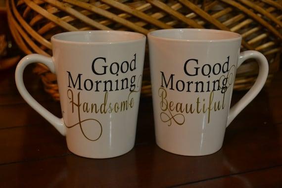 Bonjour Belle Bon Matin Beau Couples Tasses à Café
