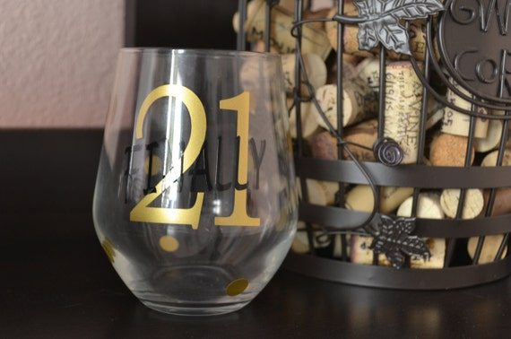 Finally 21 21st Birthday Wine Glass Gift