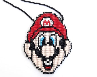 Super mario necklace super mario brothers necklace nintendo necklace unique super mario bros jewelry mario nintendo gifts