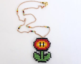 Mario flower necklace super mario fire flower necklace nintendo necklace fire flower necklace super mario bros jewelry nintendo gifts