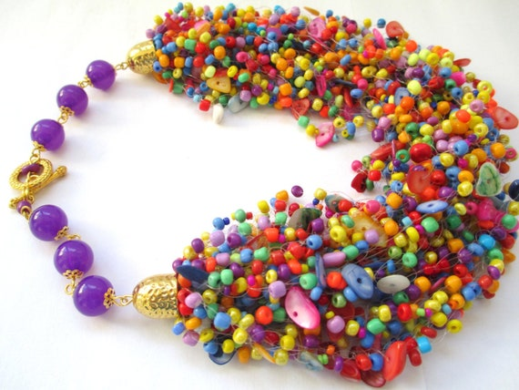 seed beaded necklace multicolor beaded necklace gift for women seed beaded jewelry air beaded necklace