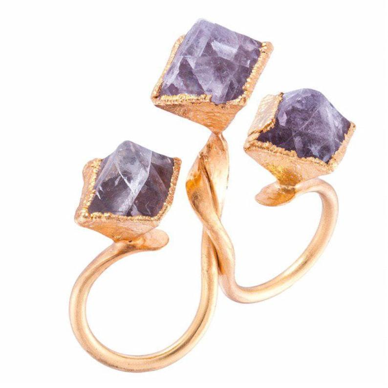 Raw fluorite ring,Raw stone engagement ring,Cubic fluorite,Double band ring stone,Raw stone jewelry for women,Statement ring,Triple stone