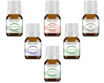 Essential Oil Set 6 - 5 ml. 100% Pure Therapeutic Grade Oils For Skin, Hair, Aromatherapy Diffuser and Soap Making.