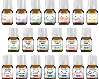 Essential Oil Set 20 - 5 ml. 100% Pure Therapeutic Grade Single Oils and Blends