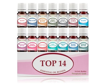 Top 14 Essential Oil Blends Set Kit 100% Pure Therapeutic Grade 5 ml.