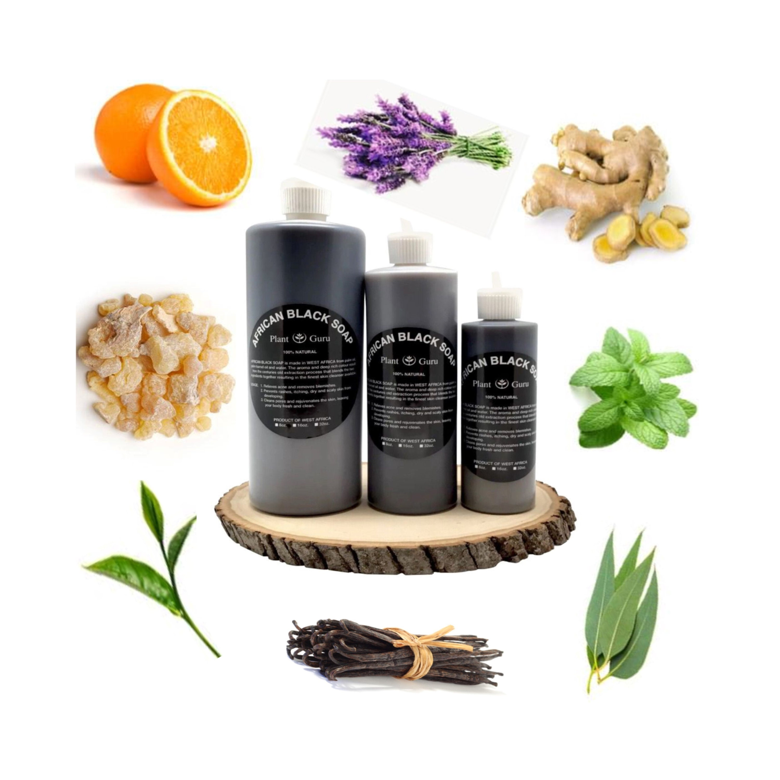 Aromatherapy African Black Soap Liquid Organic 100% Pure Raw Unrefined,  Infused with Pure Essential Oils, For Face, Acne Scars And Eczema