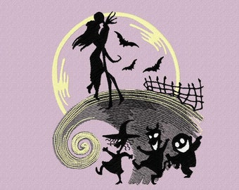 Embroidery Machine Nightmare Design, Halloween ITH Design, PES Night Lovers Pattern
