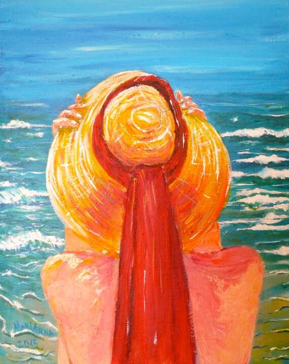 Peinture Décorative Peinture Murale Art Deco Chapeau De Paille Acrylique Sur Toile Encadrée