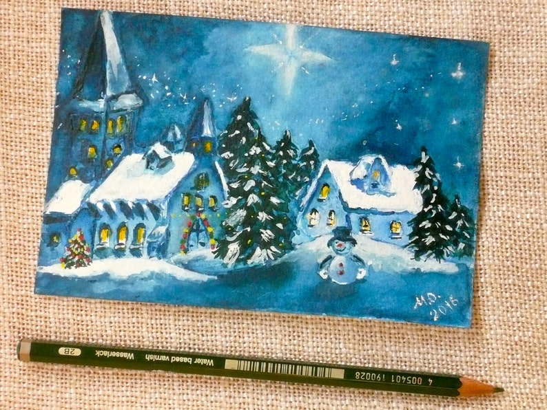Postcard Original Watercolor and Hand Painted Artwork ACEO Card Greeting Card