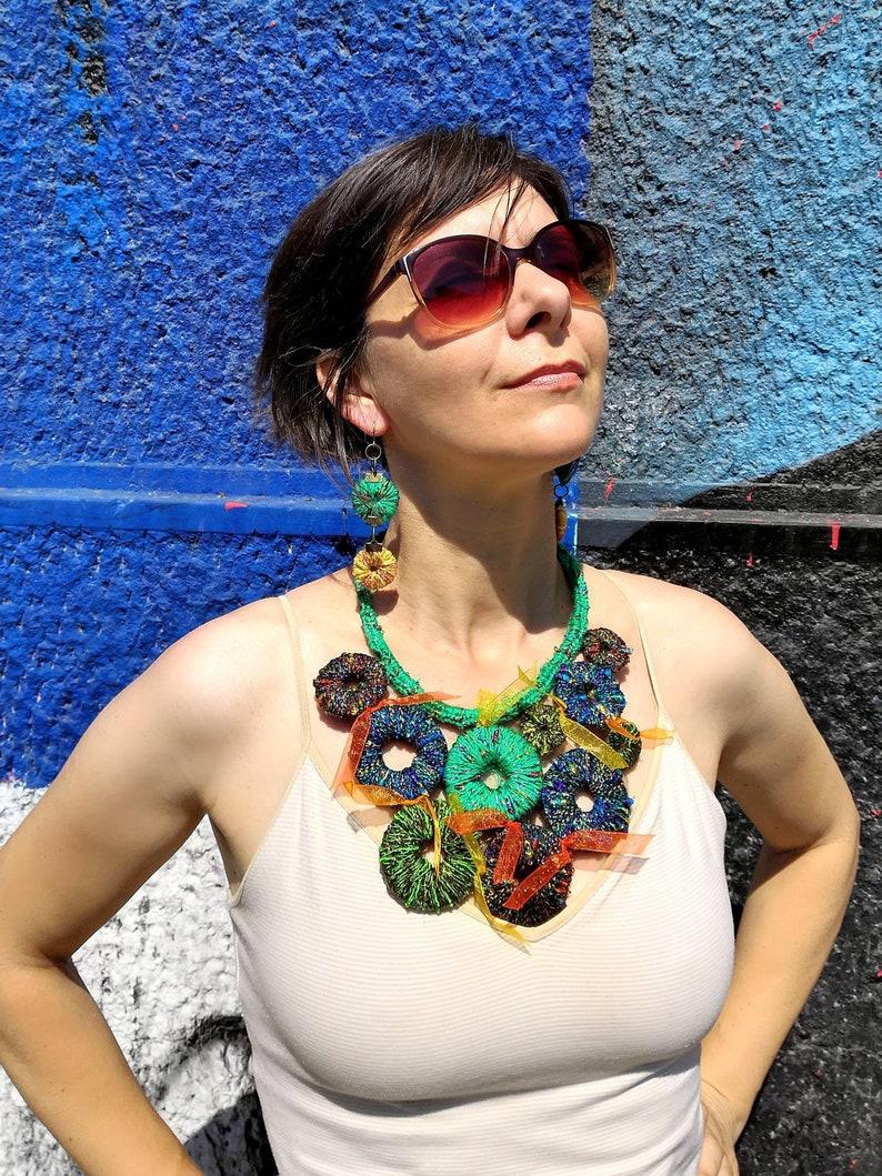 Summertime necklace Gift for her Crochet Bib Necklace Statement Necklace Colorful Textile Necklace and Earrings Unique Jewelry