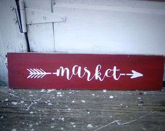 Large Farmhouse Kitchen Market arrow sign wood decor