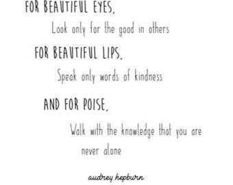 Audrey Hepburn Quote Art Print For Beautiful Eyes Etsy