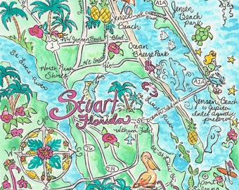 Map Of Stuart Florida.Stuart Map Etsy