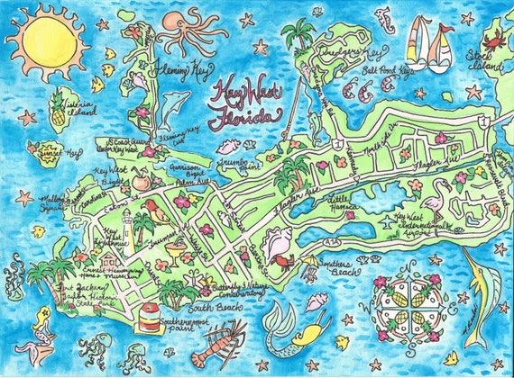 Key West Florida Watercolor Map Art Print Etsy