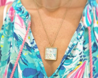 Watercolor map print necklace