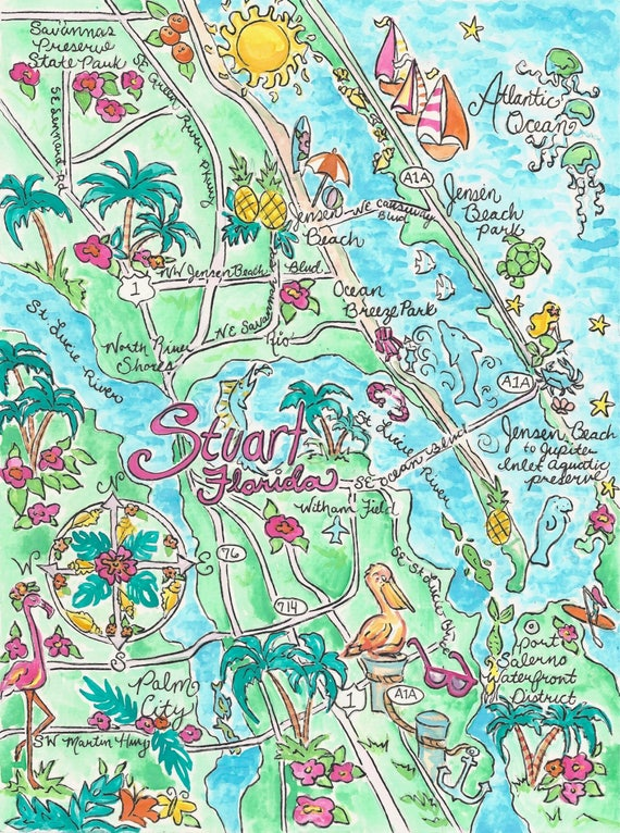 Map Of Stuart Florida.Watercolor Map Of Stuart Florida Etsy