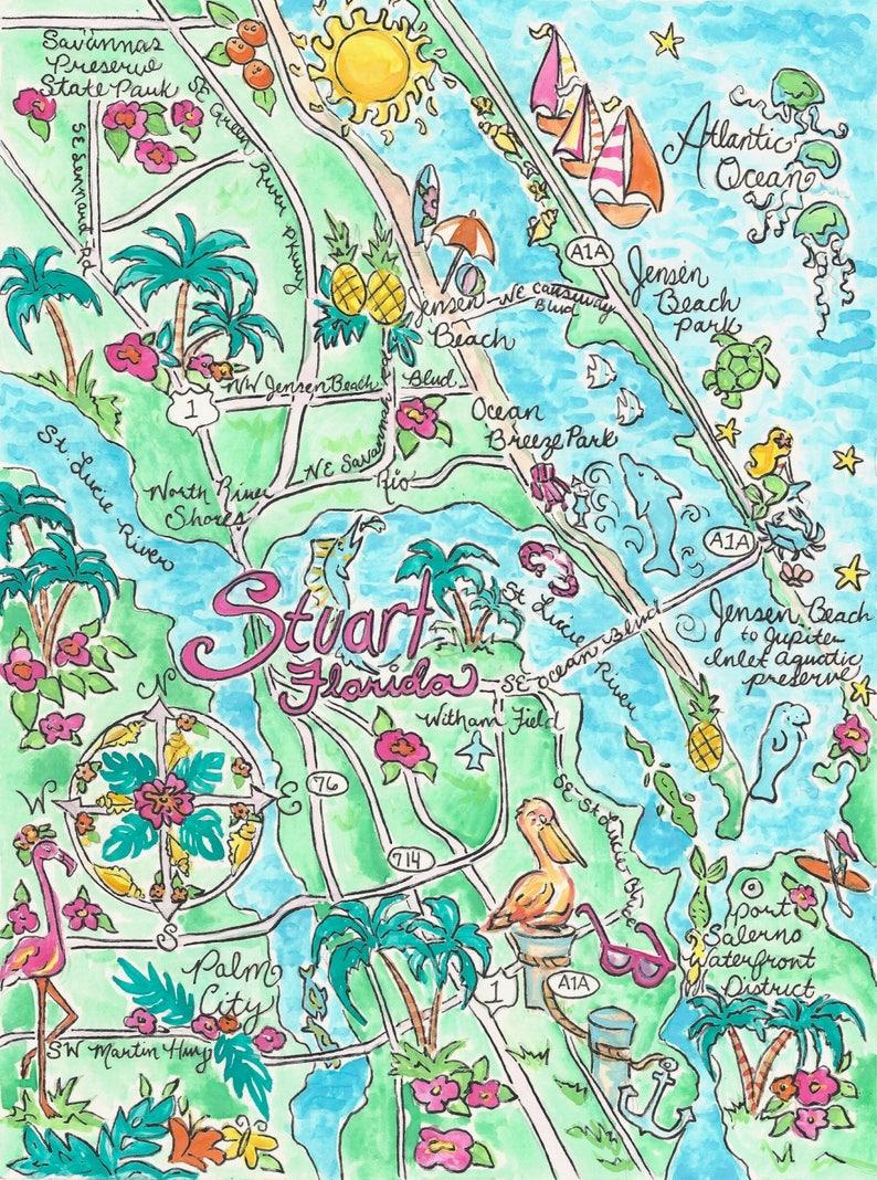 Watercolor Map Of Stuart Florida Etsy