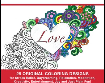 Love Coloring Pages Book - PDF INSTANT DOWNLOAD - Love Coloring - 25 Original Coloring Designs for Stress Relief & Relaxation