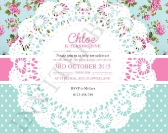 Floral Polka Dot Girl Invitation