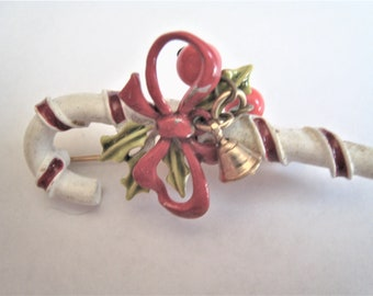 Art Candy Cane Christmas Pin