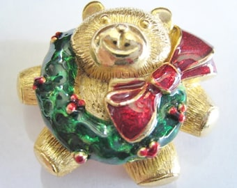 Christmas Teddy with Wearth Pin