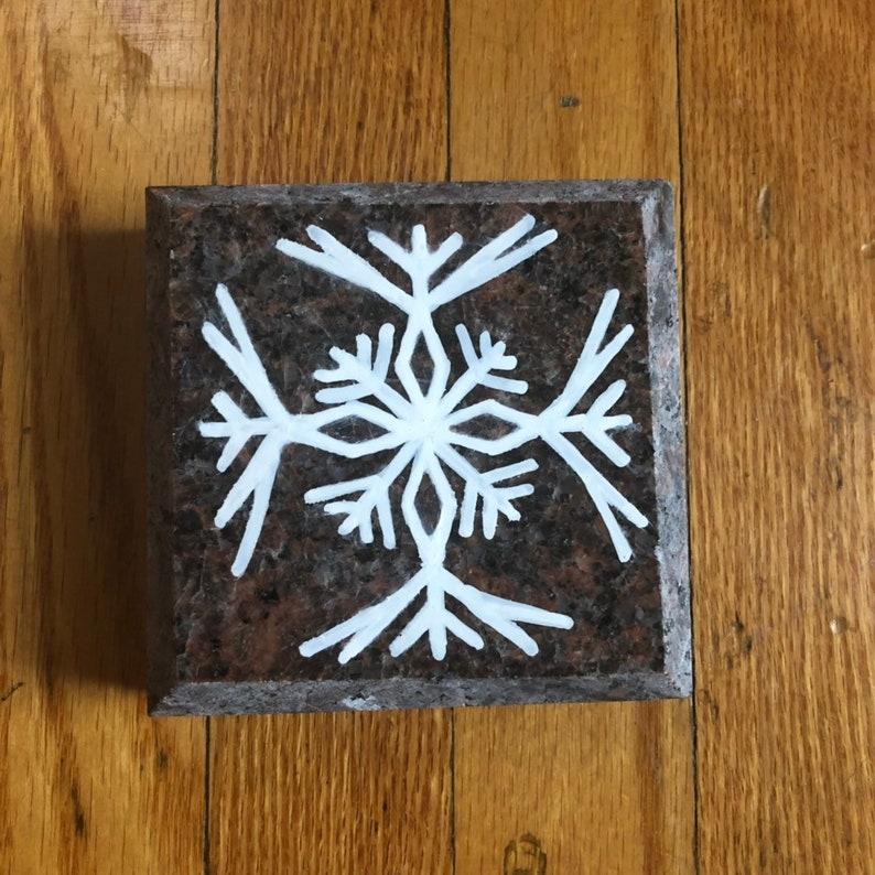 Hand painted Winter Snowflake on Granite