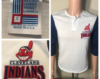 3cb96fe5 Vintage Cleveland Indians raglan shirt // 1988 80s Chief wahoo t-shirt //  deadstock rare MLB baseball // two tone // adult size small //