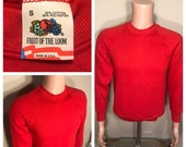 Vintage Fruit of the loom sweatshirt blank deadstock NOS adult size small bright red made in USA 50 50 blend raglan style