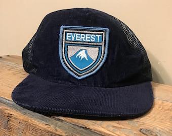 3ef02546e65c62 Vintage Mount Everest hat // trucker corduroy snapback hat // vintage vtg  90s // navy blue mesh corduroy cap // mountain hiking rare retro