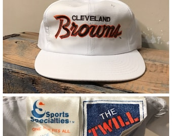 9fde64b0 Vintage Cleveland browns hat // sports specialities the twill // script  spell out // rare NFL pro line hat White // The Twill rare cap