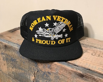 4ad1c93b142 Vintage Vietnam Veteran   Proud of it hat    USA US service Veteran hat     black trucker hat cap    deadstock new old stock    bald eagle
