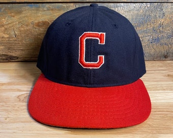 Vintage Cleveland Indians fitted hat  1942-1950 Roman Pro Made in USA  wool two tone hat  cooperstown collection rare cap