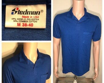 7d767f2023 Vintage Stedman Polo collared pocket shirt // NOS deadstock plain blank tee  // BLUE // adult size medium // made in USA 50/50 blend //