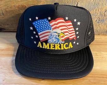 Navy//White Duck Commander American Flag Hat Mesh