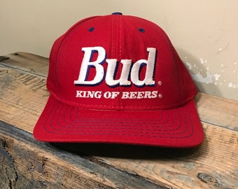 17a086d40b8 Vintage Bud King of beers hat    deadstock snapback cap    red Bud light  Budwesier beer hat    1995 90s official product Anheuser-busch