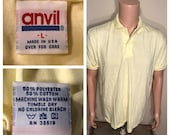 Vintage ANVIL Polo BLANK tshirt NOS deadstock plain blank tee yellow adult size large rare paper thin 50 50 tshirt