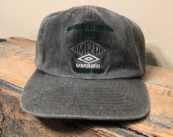 4f162621d16cd5 Vintage Umbro denim hat // adjustable strap baseball hat // Umbro since  1924 // authentic soccer gear // gray denim jean cap hat // rare