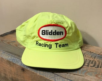 Vintage Glidden Racing team    Indianapolis 500    nascar    90s racing     Neon green yellow    adjustable snapback    paint indy 500 3abeb40e5c39