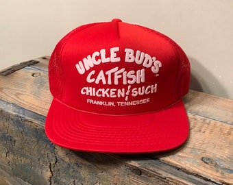 9554662e104 Vintage Uncle bud s catfish chicken and such hat    red trucker hat     deadstock new old stock NOS    Franklin Tennessee    funny hat