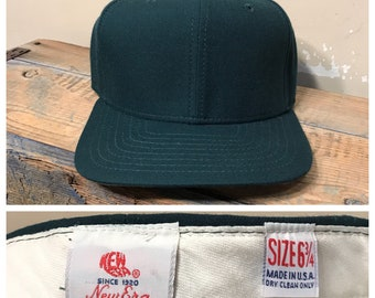 69784f15211 New old stock    Vintage New Era fitted hat cap    deadstock NOS    wool  baseball fitted hat    green cap    size 6 3 4 fitted cap    rare