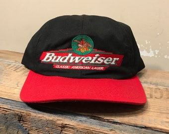 3d1cc9e9275 Vintage Budweiser snapback hat   two tone snapback hat    adult size     Classic american lager beer    red black hat    retro throwback