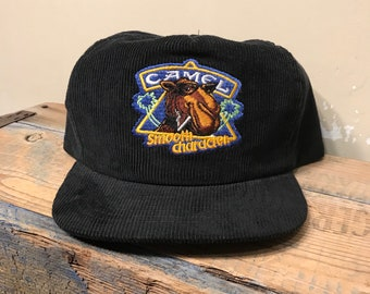 d3523f49 Vintage Joe Camel snapback hat // black embroidered corduroy cap // smooth  character // new old stock // adult size // party rave hat cap