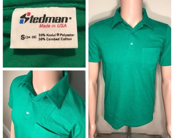 3bdb356693 Vintage Stedman Polo collared pocket shirt // NOS deadstock plain blank tee  // Green // adult size small // made in USA 50/50 blend //